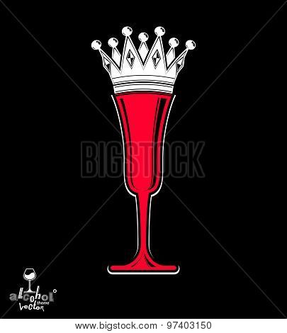 Champagne glass with imperial crown, decorative goblet full with sparkling wine.