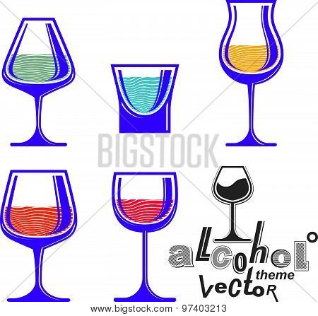 Colorful glasses collection, martini, wine, cognac, whiskey and champagne. Alcohol theme eps8