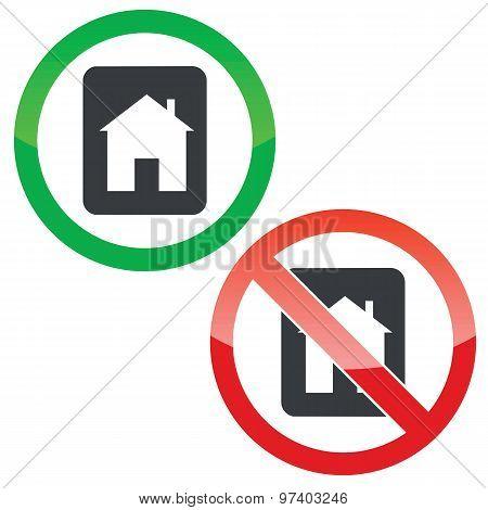 House tablet permission signs set