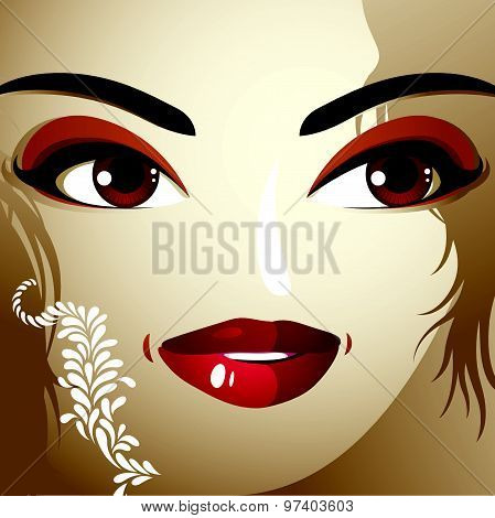Emotional expression on the face of cute girl. Beautiful happy smiling woman with a modern makeup
