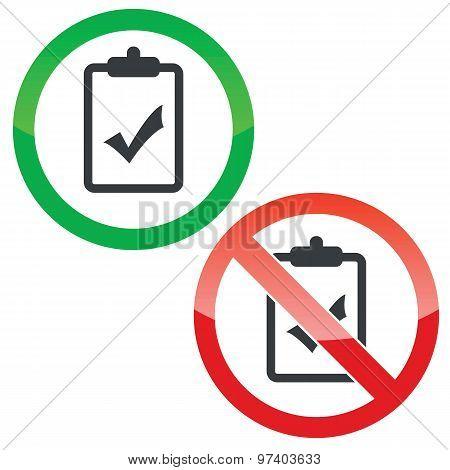 Positive result permission signs set