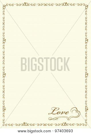 Original gold frame for congratulation lovers and printing A4