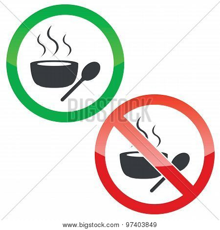 Hot soup permission signs set