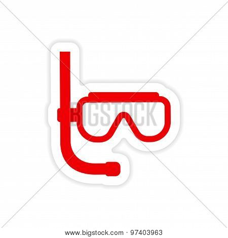 icon sticker realistic design on paper scuba diving mask