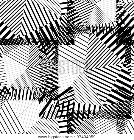 Black and white creative continuous lines pattern, contrast motif abstract striped background.