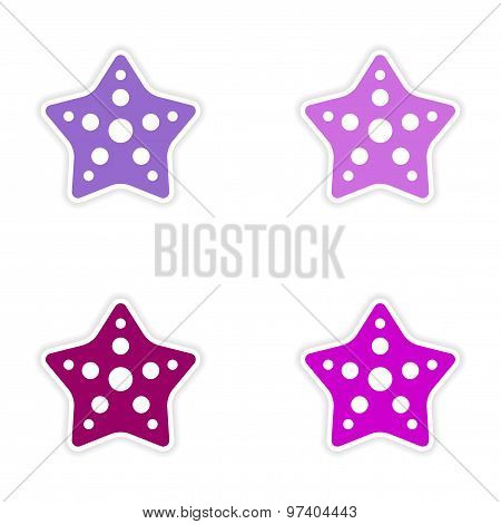 assembly realistic sticker design on paper star fish