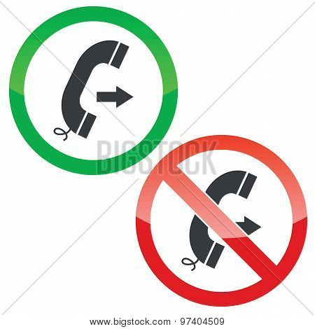 Outgoing call permission signs set