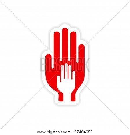 icon sticker realistic design on paper hands