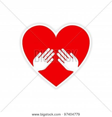 icon sticker realistic design on paper heart hand