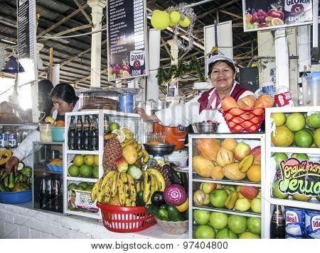Friendly Local Woman Sells Fresh Juices To Tourists