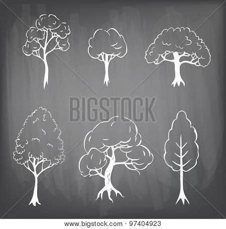 Set Of 3 Hand Drawn Trees