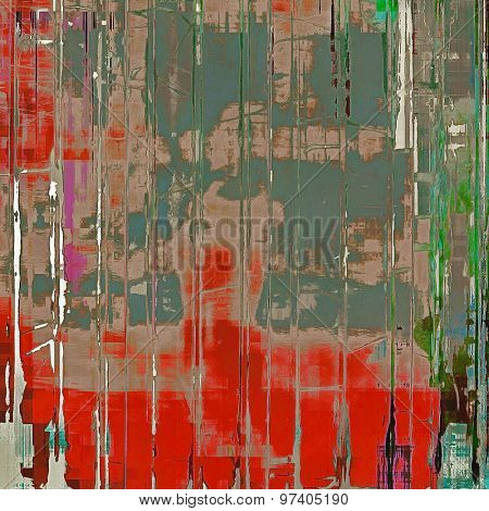 Abstract grunge background with retro design elements and different color patterns: brown; green; red (orange); gray