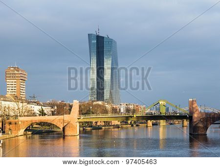 The New Seat Of The European Central Bank In Frankfurt, Germany.