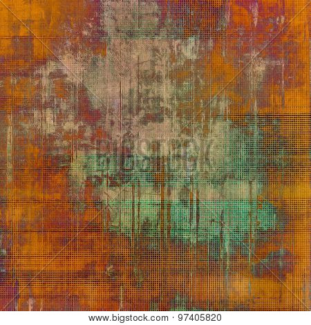 Abstract grunge background with retro design elements and different color patterns: yellow (beige); brown; purple (violet); green
