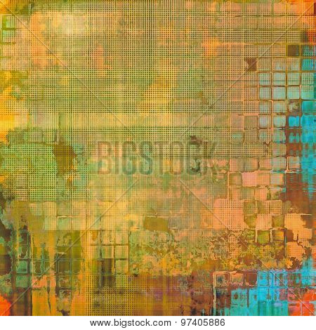 Abstract grunge background with retro design elements and different color patterns: yellow (beige); brown; green; blue