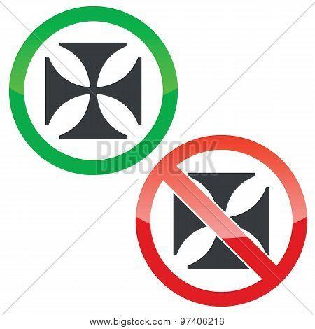 Maltese cross permission signs set