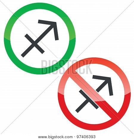 Sagittarius permission signs set