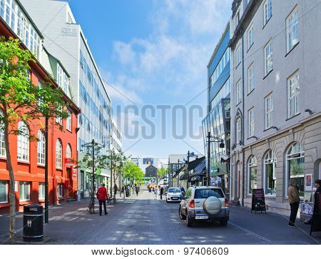 REYKJAVIK, ICELAND - JUNE 20: Downtown streets of Reykjavik, Iceland on June 20, 2015. Reykjavik is the northernmost capital in the world and the largest city of Iceland.