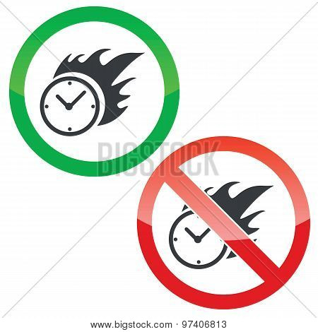 Burning time permission signs set
