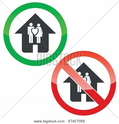Family house permission signs set