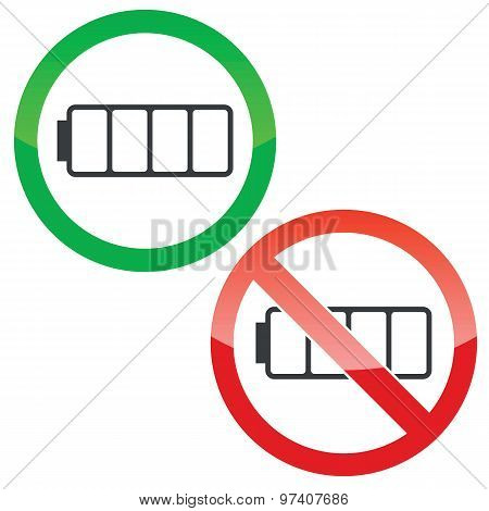 Empty battery permission signs set