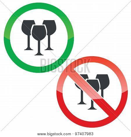 Wine permission signs set