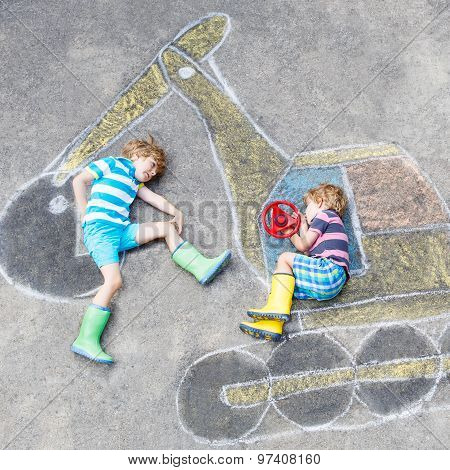 Two Little Kid Boys With Excavator Chalk Picture