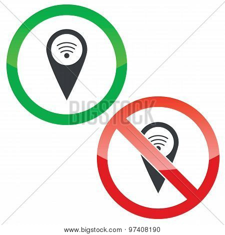 Mark Wi-Fi permission signs set