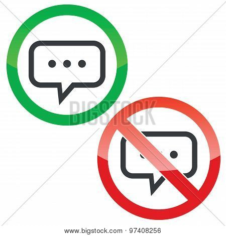 Typing permission signs set