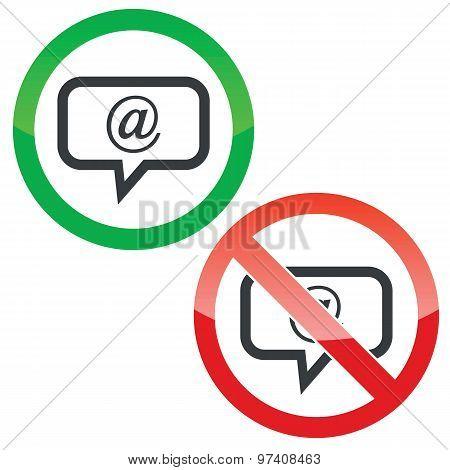 Mail message permission signs set