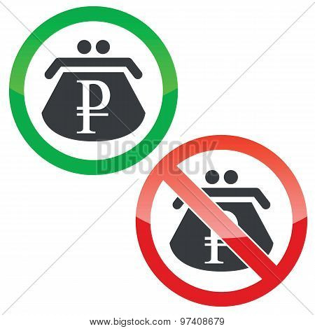 Ruble purse permission signs set