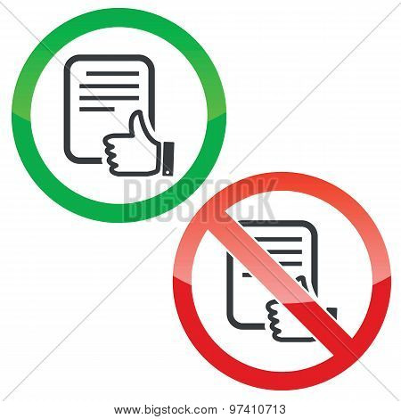 Like document permission signs set