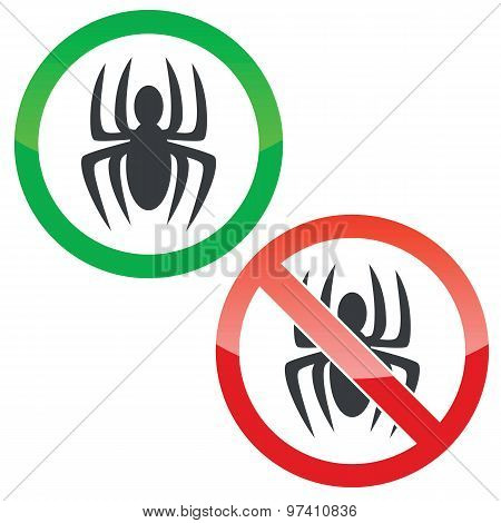 Spider permission signs set