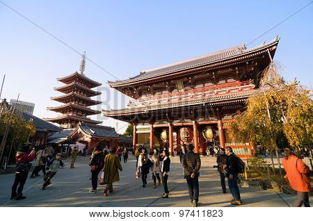 Tokyo, Japan - November 21, 2013: Tourists Visit Buddhist Temple Senso-ji