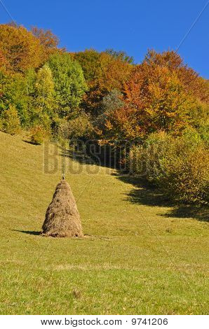 Haystack on an autumn hillside