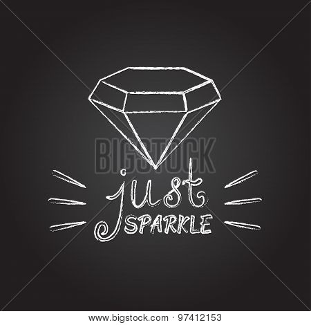 Single diamond outline gem vector Positive thinking Inspirational quote