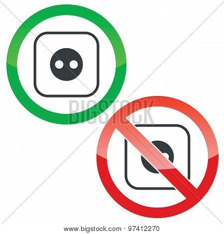 Socket permission signs set