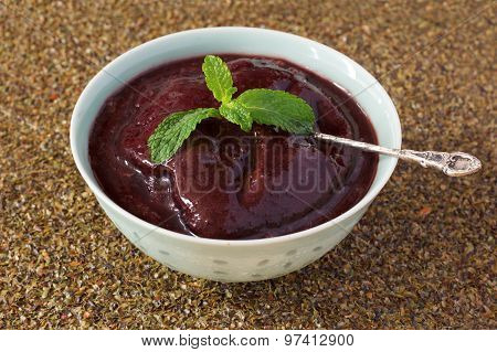 Brazilian Dessert Acai Pulp In Blue Bowl
