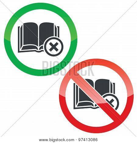 Remove book permission signs set