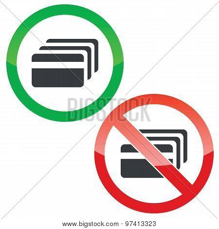 Credit card permission signs set