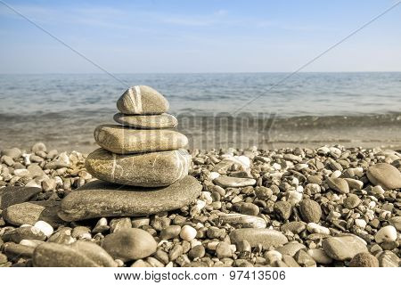 Pebbles On A Beach, Harmony And Balance Concept.