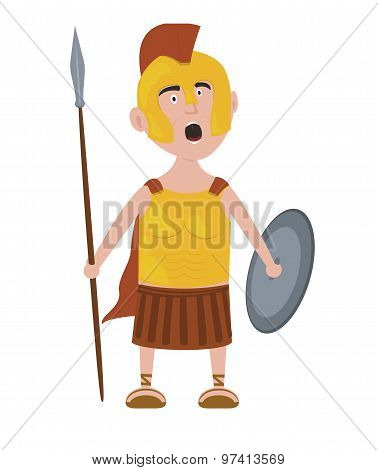 Roman warrior cartoon character screaming holding spear and shield
