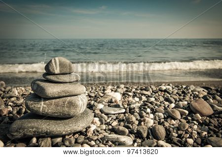 Zen Rocks In A Stack By The Sea, Vintage Colors.