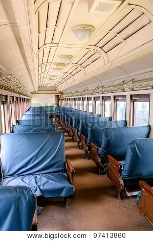 Blue Seats In Old Passenger Train