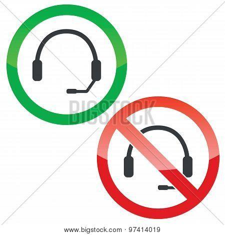 Headset permission signs set
