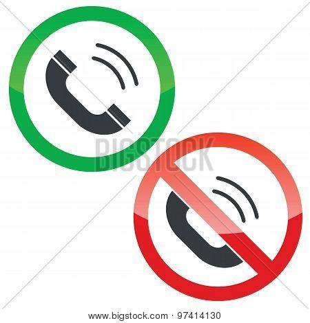 Calling permission signs set