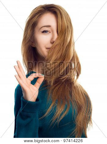 Young Woman Is Showing Ok Sign, Isolated Over White.