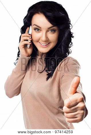 Young Woman Is Showing Thumb Up Gesture.