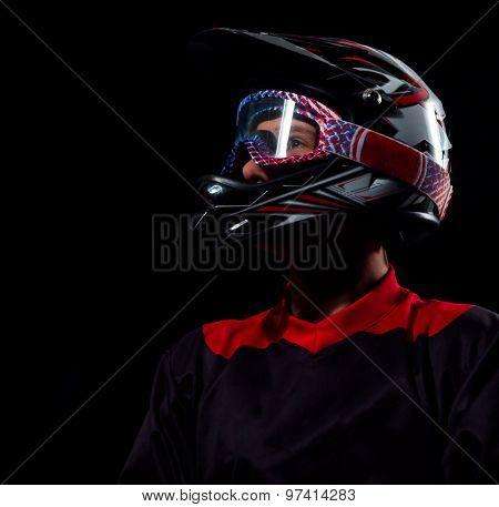 Cyclist Man In Bicycle Helmet .