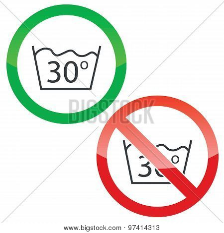 30 degrees wash permission signs